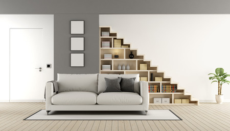 Contemporary living room with wooden staircase ,sofa and closed door - 3d rendering