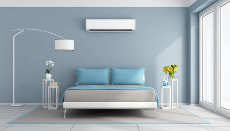 Blue contemporary bedroom with air conditioner - 3d rendering Stok Fotoğraf