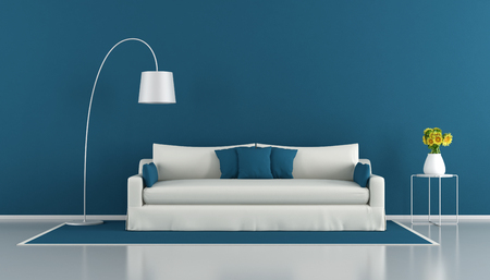 Blue modern living room with white sofa and sunflowers on coffee table - 3d rendering