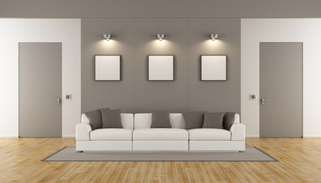 Minimalist living room with two closed doors and white sofa - 3d rendering Stock Photo