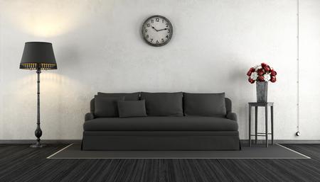 salón de la vendimia en blanco y negro con elegante sofá, lámpara de pie y flores - Las 3D