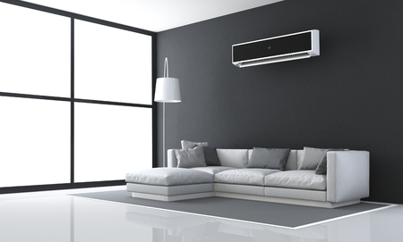 living room window: Minimalist black and white living room with sofa and air conditioner - 3d rendering