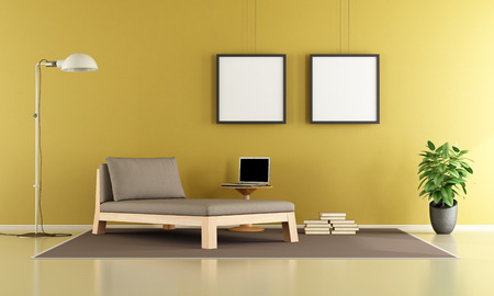daybed: Minimalist living room with daybed,coffee table and laptop - 3d rendering