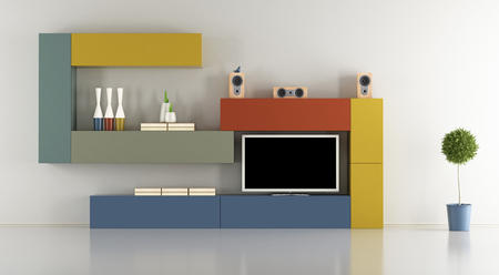 television set: Minimalist living room with colorful wall unit with television set - 3d rendering