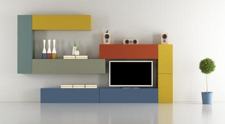 Salón minimalista con unidad de pared colorido con aparato de televisión - Las 3D