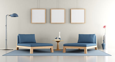 living room sofa: Modern lounge with blue daybed. blank frame and contemporary lamp - 3d rendering