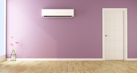 Empty Purple Living Room With Air Conditioner And White Door   3d Rendering  Stock Photo