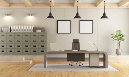 Two levels contemporary office with filing cabinet , modern desk and wooden ceiling - 3d rendering Foto de archivo