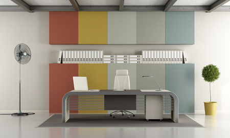 niche: Contemporary office with colorful panel with niche - 3d rendering