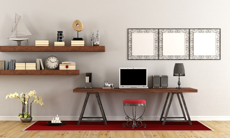 Vintage home office with contemporary laptop on wooden desk - 3d rendering