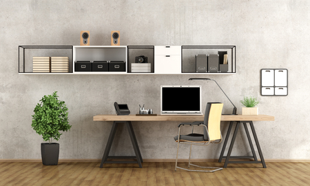 Contemporary home office with  laptop on minimalist desk - 3d rendering