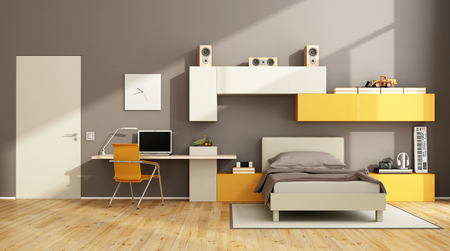 bedroom wall: Brown and orange teenage boy bedroom with desk,laptop and wall unit on wall -3d rendering