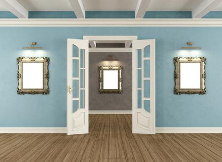 white door: Retro interior with open door  and  classic golden frames on wall- 3d rendering Stock Photo