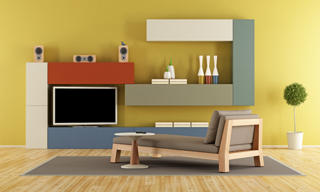daybed: Contemporary Living room with colorful wall unit with tv and daybed - 3d rendering Stock Photo