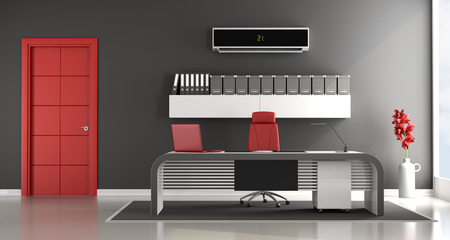 Black And Red Contemporary Office Space With Air Conditioner   3d Rendering  Stock Photo   56999213