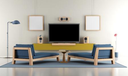 Moderne Wohnzimmer mit TV und zwei Tagesbetten - 3D-Rendering Standard-Bild - 56999214