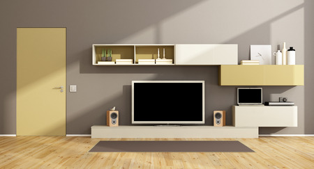 living room design: Modern living room with wall unit, tv set and closed door - 3d rendering