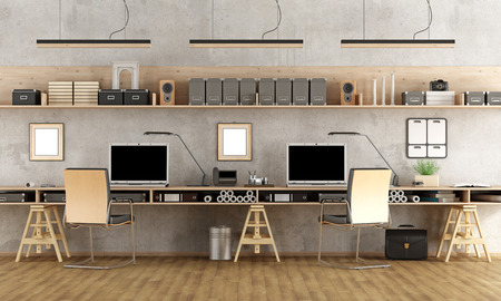 working in office: Minimalist architectural office with two workstation - 3d rendering