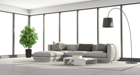 living room sofa: Minimalist living room with sofa and large windows - 3d rendering