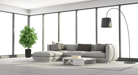 windows: Salón minimalista con sofá y grandes ventanales - representación 3d