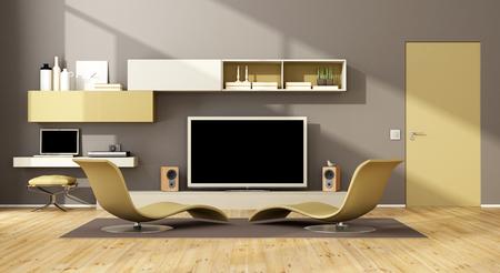 Sala de estar contemporánea con salón y dos chaise unidad de pared con tv - representación 3d