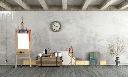 Art workshop in vintage style with easel and blank frames - 3d rendering Archivio Fotografico