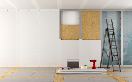 Renovation of an old house with plaster board and wood fiber panels - 3d rendering Banco de Imagens