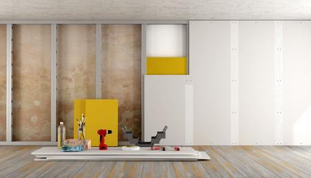 Реконструкция старого дома с гипсокартон и изоляционного материала - 3D-рендеринг Фото со стока