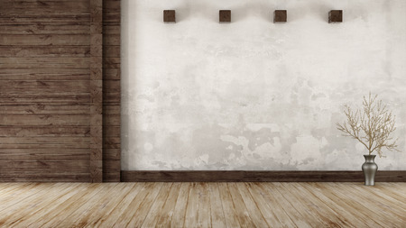 Empty room in rustic style with  old wooden paneling - 3d Rendering