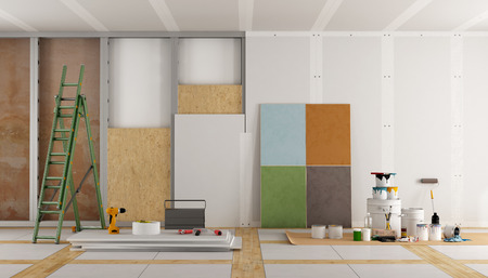 plaster: architectural restoration of an old room and selection of the color swatch - 3d rendering