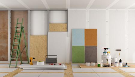 architektonische Restaurierung eines alten Zimmer und die Auswahl der Farbfeld - 3D-Rendering Lizenzfreie Bilder