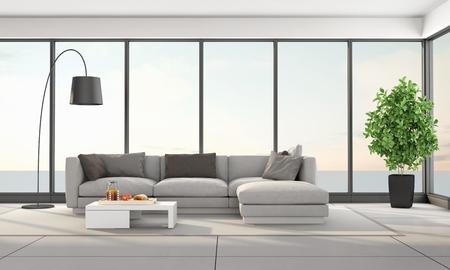 Modern living room with elegant sofa and large window - 3d rendering Reklamní fotografie