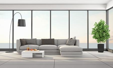 Moderne woonkamer met elegante sofa en groot raam - 3D-weergave Stockfoto