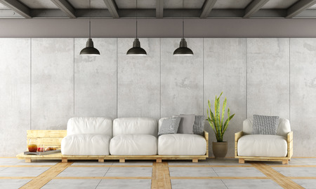 living room wall: Contemporary living room with pallet sofa,concrete wall and iron beams - 3d rendering