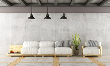 Salon contemporain avec canapé palette, de murs et de fer en béton poutres - rendu 3d Banque d'images - 56899350