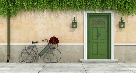 green door: Country house with old door and bicycle with bouquet of roses in a wicker basket - 3d rendering