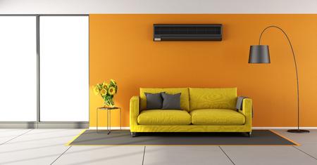 amarillo y negro: sala de estar de naranja con aire acondicionado, sofá amarillo y ventanas - representación 3d