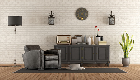 sideboard: Retro living room with leather armchair and sideboard - 3d rendering