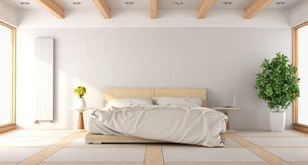 Contemporary white bedroom with wooden windows and beams - 3d rendering
