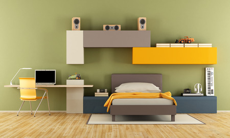 bedroom wall: Teenage boy bedroom with single bed, desk,laptop and wall unit on wall -3d rendering Stock Photo