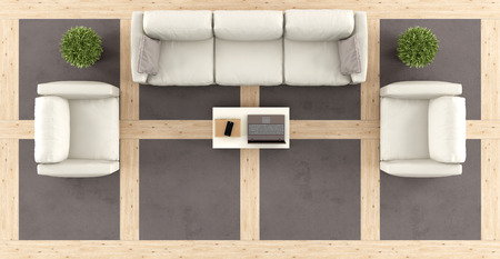 living room minimalist: Top view of a modern living room with sofa, armchairs and wooden and concrete floor-3d rendering