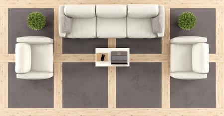 Vista superior de una moderna sala de estar con sofá, sillones y prestación de madera y piso de concreto-3d