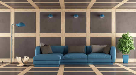 living room wall: Contemporary living room with wall,floor and ceiling in concrete and wooden paneling - 3d rendering