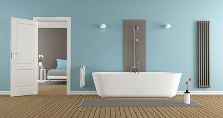 puertas de madera: moderno cuarto de baño con bañera del maestro dormitorio-representación 3D Foto de archivo