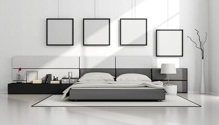 Black and white minimalist bedroom with double bed and blank frame on wall - 3d rendering