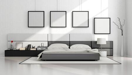 chambre minimaliste en noir et blanc avec lit double et cadre blanc sur le mur - rendu 3d Banque d'images