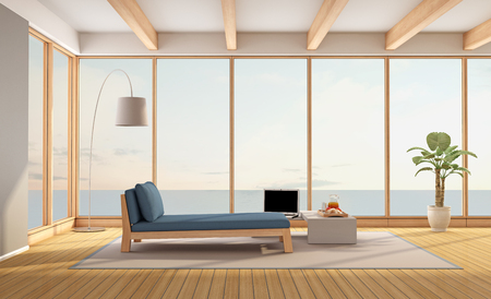daybed: Living room of a contemporary holiday villa with sea views - 3d rendering