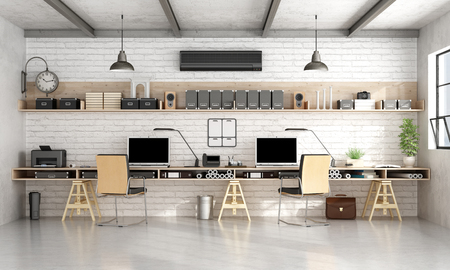 brick work: Architecture or engineering workplace office with two workstation in a loft- 3d rendering