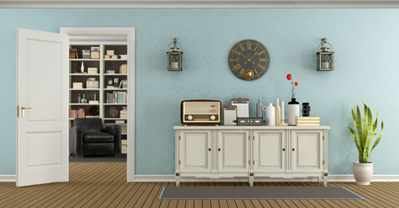 white door: Retro living room with sideboard and open door with bookcase on the background - 3d rendering