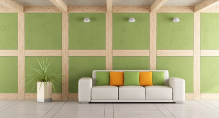 living room wall: Contemporary living room with white sofa and wall in concrete and wooden paneling - 3d rendering